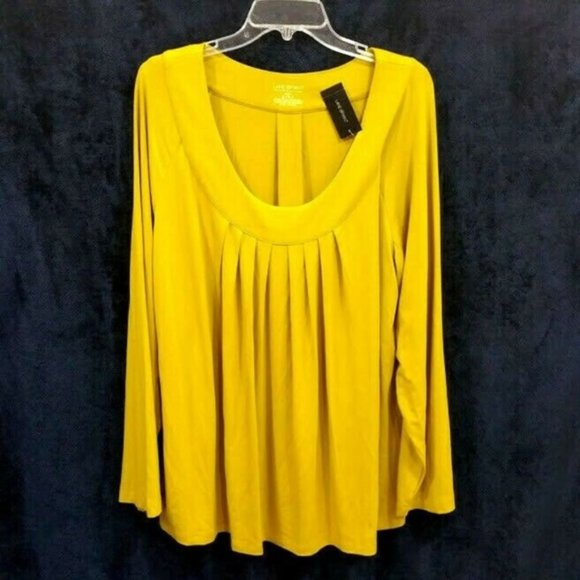 NWT Lane Bryant mustard peasant pleated knit top